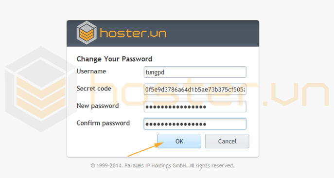 plesk change your password dialog